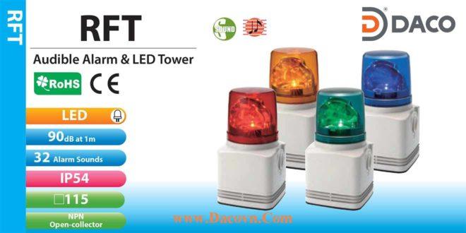 RFT-100C-R Đèn tín hiệu có loa Patlite Φ100 Bóng LED 32 âm 90dB IP54
