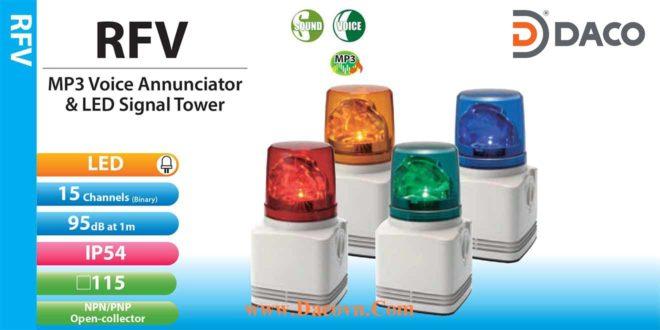 RFV-200F-R Đèn quay có loa Patlite ghi âm mp3 Φ100 Bóng LED 15 âm 95dB IP54