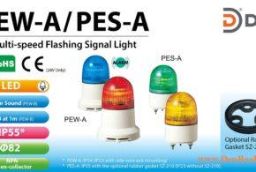 PEW-230AB-R Đèn báo nhấp nháy Patlite Φ82 Bóng LED IP23 Còi Buzzer 85dB