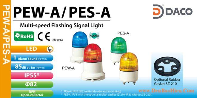 PEW-120AB-R Đèn báo nhấp nháy Patlite Φ82 Bóng LED IP23 Còi Buzzer 85dB