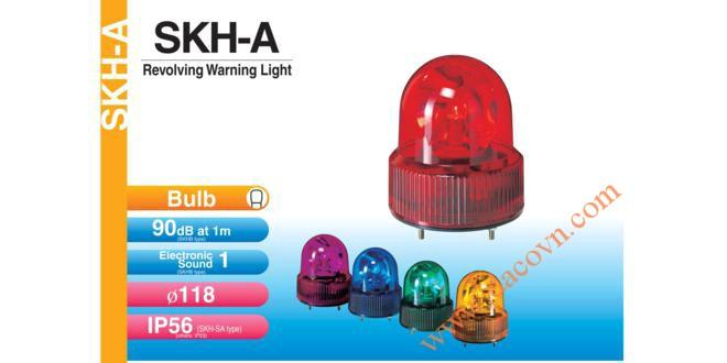 Đèn quay báo hiệu Patlite Φ118, bóng sợi đốt, chống rung, IP56, SKH-A