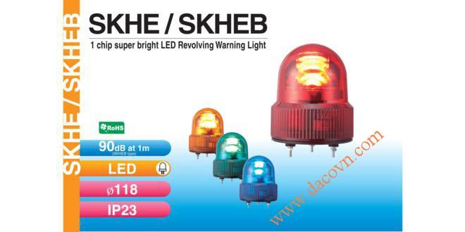 Đèn quay báo hiệu Φ118, bóng LED siêu sáng, có còi 90dB, IP23, phản xạ phân tán, SKHEB