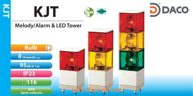 KJT-220A-RY Đèn tháp có loa Patlite 2 tầng Vuông 116 Bóng Sợi đốt Quay 8 kênh âm 95dB IP23