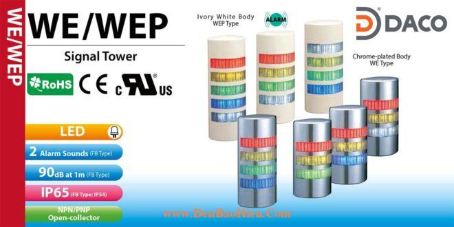 WEP-302FB-RYG Đèn tháp bán nguyệt gắn tường Patlite Φ90 Bóng LED 3 tầng Còi Buzzer 90dB IP54