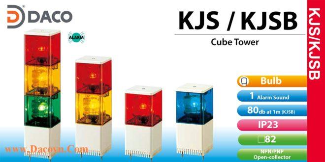KJS-212-RY Đèn tháp vuông Patlite 2 tầng Vuông 82 Bóng Sợi đốt Quay IP23