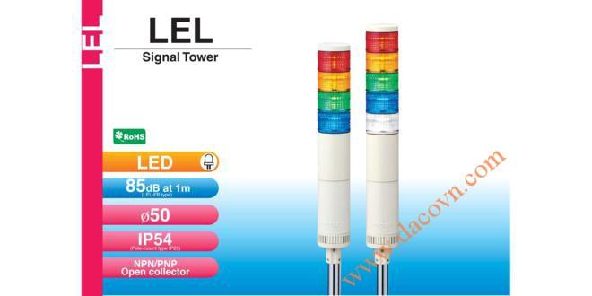 Đèn tháp tầng báo hiệu Patlite, LED Φ50, còi 85dB, nhấp nháy IP54, LEL