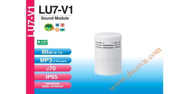 Module âm thanh đèn tháp báo hiệu Patlite LU7 Φ70, 4 âm báo MP3, 80dB, LU7-V1