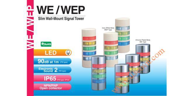 WE-402-RYGB Đèn tháp bán nguyệt gắn tường Patlite Φ90 Bóng LED 4 tầng IP65