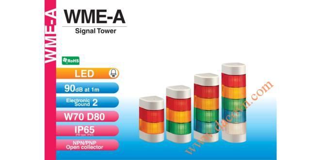 WME-302FB-RYG Đèn tháp gắn tường Patlite Φ80 Bóng LED 3 tầng Còi 2 Buzzer 90dB IP54