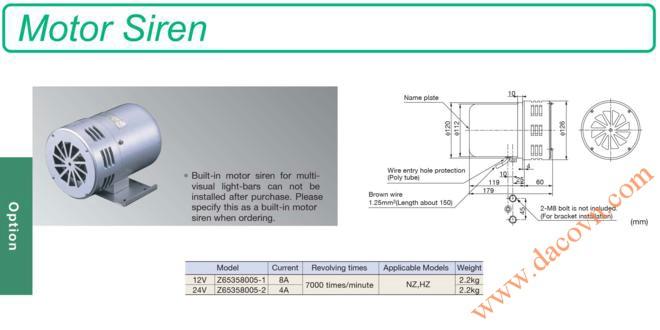 Còi hú báo động Patlite bằng động cơ motor Z65358005, 12VDC&24VDC Cho xe ưu tiên
