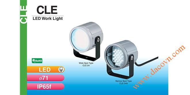 Đèn LED chiếu sáng dạng tròn Φ71 Patlite CLE-24N chống chịu dung môi hóa chất, dầu, nước, IP65, 24VDC