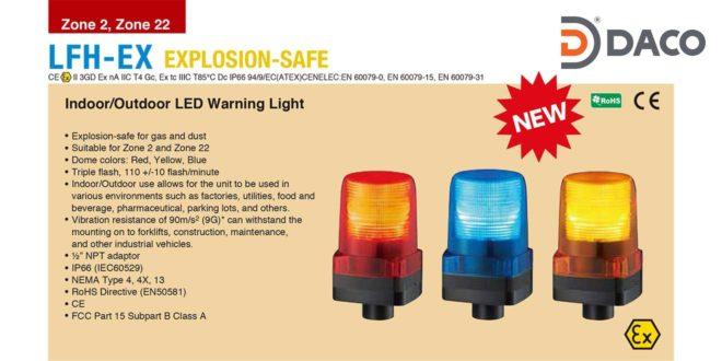 Đèn báo hiệu phòng nổ Patlite vuông 100×100 bóng LED IP66, LFH-Ex