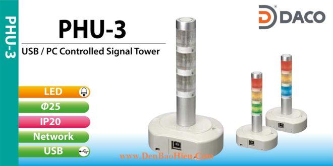 Đèn tháp kết nối điều khiển qua cổng USB Patlite PHU-3 từ máy tính PC