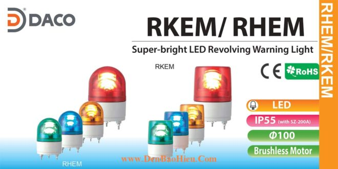 RHEM-M2-Y+SZ-200A Đèn quay Patlite Φ100 Bóng LED IP23, IP55