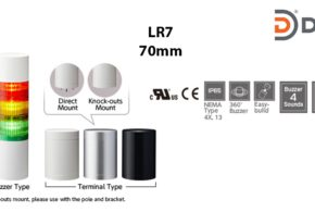 LR7-502WJNW-RYGBC Đèn cảnh báo tháp Patlite Φ70 Bóng LED 5 tầng IP65