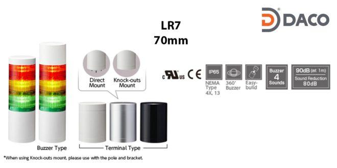 LR7-502WJBW-RYGBC Đèn cảnh báo tháp Patlite Φ70 Bóng LED 5 tầng Còi Buzzer 88dB IP65