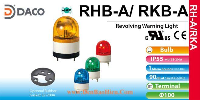 RHB-24A-R Đèn xoay có còi Patlite Φ100 Bóng Sợi đốt Buzzer 90dB IP23, IP55