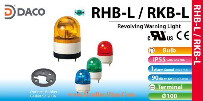 RHB-48L-R Đèn xoay có còi Patlite Φ100 Bóng Sợi đốt Buzzer 90dB IP23, IP55