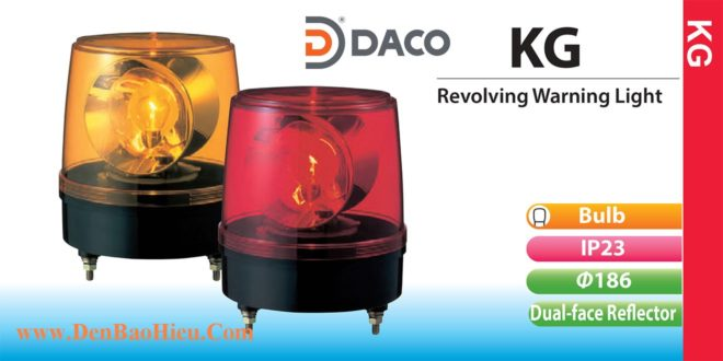 KG-200-R Đèn quay báo hiệu Patlite phản xạ kép Φ186 Bóng Sợi đốt IP23