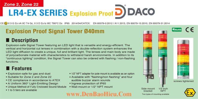 LR4-102WJNU-R-EX Đèn tháp phòng nổ Patlite Φ40 Bóng LED 1 tầng IP65, Zone 2