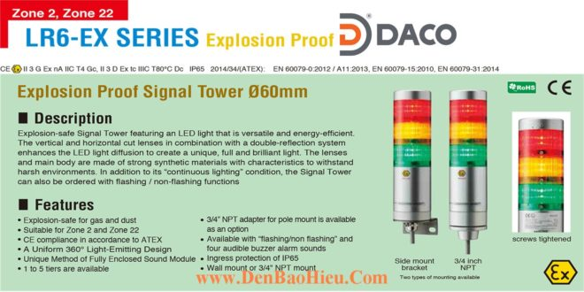 LR6-502NJBU-RYGBC-EX Đèn tháp phòng nổ Patlite Φ60 Bóng LED 5 tầng Còi Buzzer 85dB IP65, Zone 2