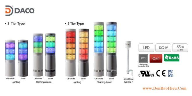 LA6-5AWJWN-RYG Đèn tháp báo hiệu Patlite Φ60 Bóng LED 5 tầng IP65