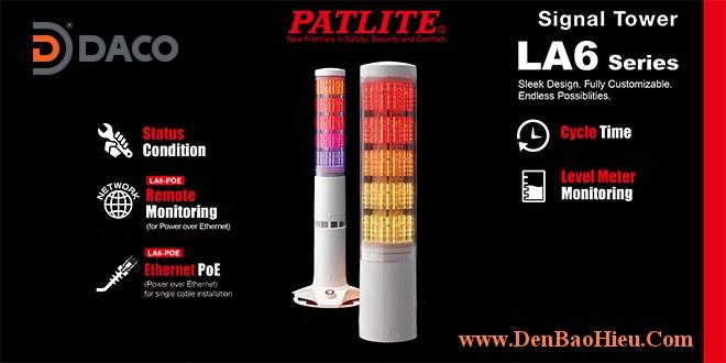 LA6-5DSNWB-POE Đèn tháp LAN POE báo hiệu Patlite Φ60 Bóng LED 5 tầng Còi 11 âm báo 85dB IP20